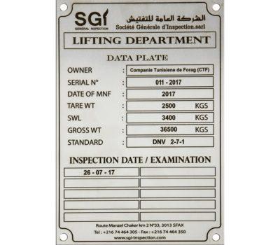 Plaque Signalétique Standard En Inox