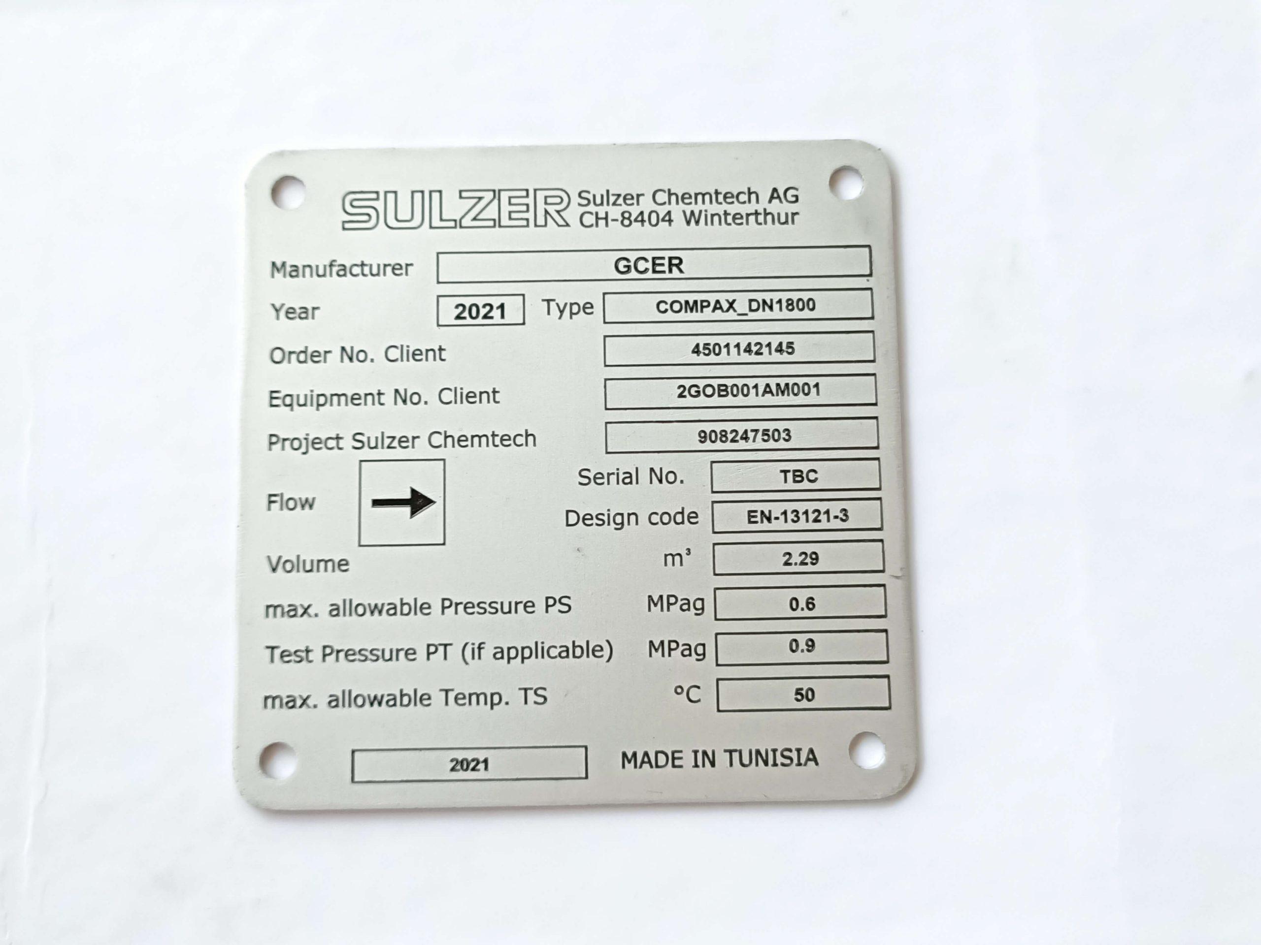 plaque en aluminium anodisé neutre avec gravure et émaillage